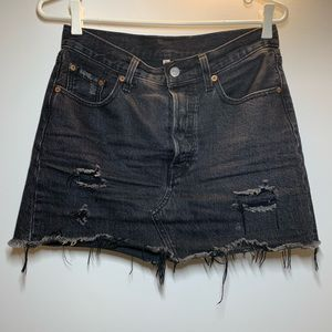 Levi's Distressed Black Denim Skirt